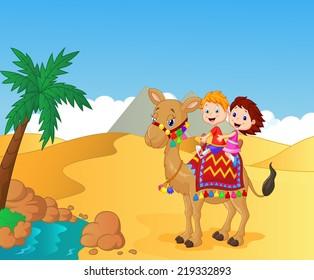 Happy kids riding camel