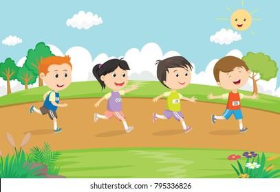 happy kids running marathon together in the park