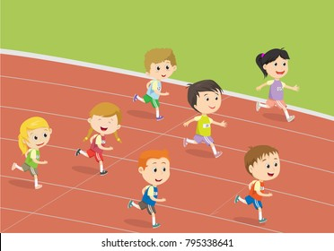 happy kids running  on the track of stadium