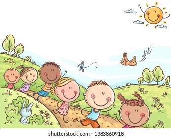 Happy kids running outdoors on a summer day, colorful background with a copy space, no gradients