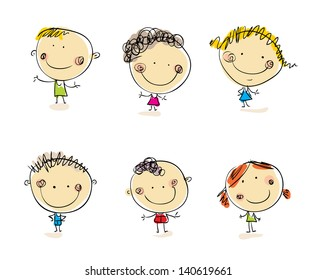 Happy kids set Vector people. Doodle people. Cartoon people