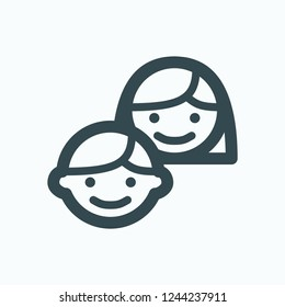 Happy kids with smile on face vector icon