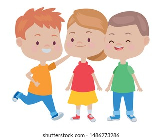 Happy kids smiling and playing with friends cartoon vector illustration graphic design.