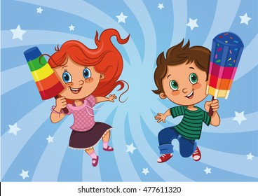 Child Eating Popsicles Stock Illustrations, Images ...