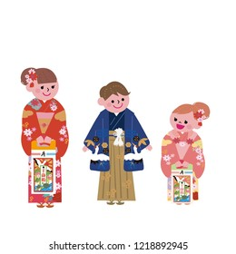 "Happy kids and  ""celebration of child's third fifth and seventh years festival""in Japanese"