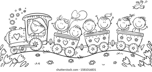 Happy Kids travelling by train, black and white outline illustration