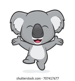 Happy koala jumping