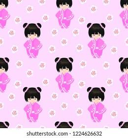 Happy Kokeshi pattern. Vector pattern design