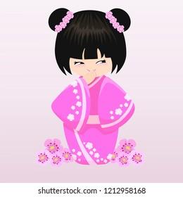 Happy kokeshi. Vector illustration