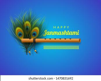 Happy Krishna Janmashtami background with bansuri and peacock feathers. Religious Hindu festival vector illustration of Lord Krishna.
