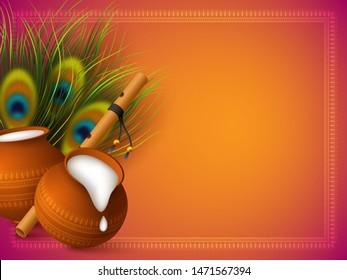 Happy Krishna Janmashtami background with pots, bansuri and peacock feathers. Copy space. Religious Hindu festival vector illustration of Lord Krishna.