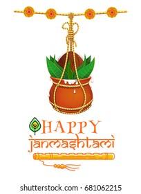 Happy Krishna Janmashtami design. Dahi Handi. Hanging earthen pot with Makhan and coconut. Hindu festival Gokulashtami. Vector illustration