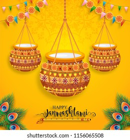 Happy Krishna Janmashtami festival card with gold patterned and crystals on paper color Background.