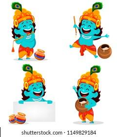 Happy Krishna Janmashtami greeting card. Funny cartoon character Lord Krishna Indian God, set of four poses. Vector illustration