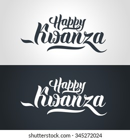 Happy Kwanza hand-lettering text on light and dark background. Handmade vector calligraphy collection