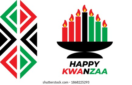 Happy Kwanzaa. Is an annual celebration of African-American culture which is held from December 26 to January 1. African American cultures festival. Vector illustration EPS 10.