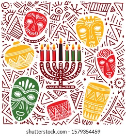 Happy Kwanzaa. Hand drawn vector illustration. Greeting card with kinara and traditional colored candles.