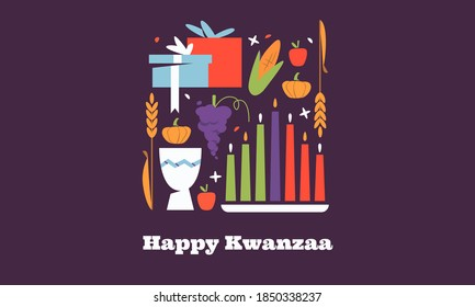 Happy Kwanzaa horizontal vector banner template with the symbols of African Heritage - kinara candles, crops, corn, unity cup and holiday gifts on purple background. Annual celebration of African-Amer
