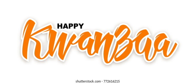 Happy Kwanzaa national West Africa diaspora Holiday, vector illustration. Traditional African culture celebration. Handwritten lettering isolated on white.