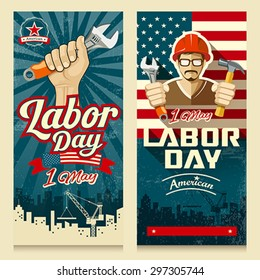 Happy Labor day american banner collections concept design, vector illustration