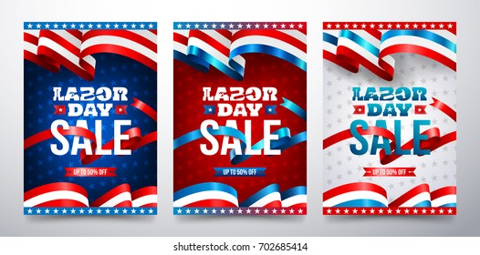 Happy Labor Day with American flag.Labor Day Sale promotion advertising banner template.American labor day Brochures,Poster or Banner.Vector illustration.
