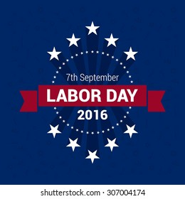 Happy Labor Day, badge design element. September 7th, United state of America, American Labor day design. Beautiful USA flag Composition. Labour Day poster design