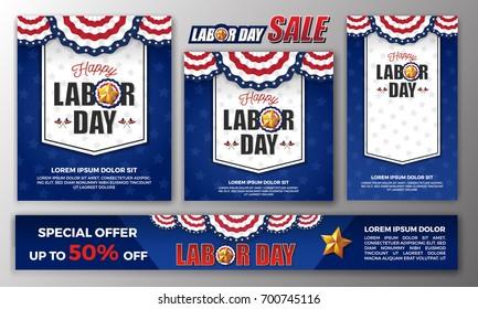Happy Labor day banner background design. Vector illustration