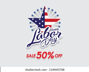 Happy Labor day banner and template design. Sale 50% Off.  Vector illustration.