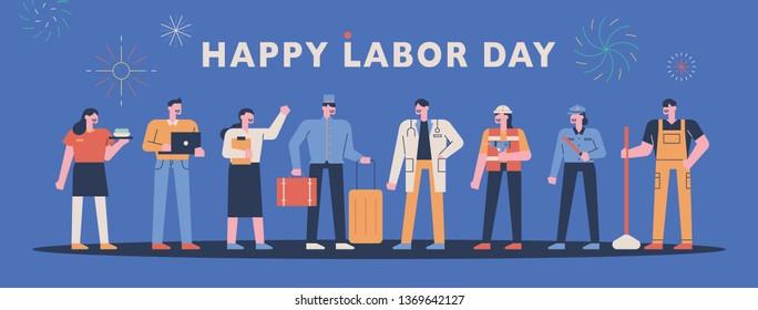 happy labor day banner. uniform character set. flat design style minimal vector illustration
