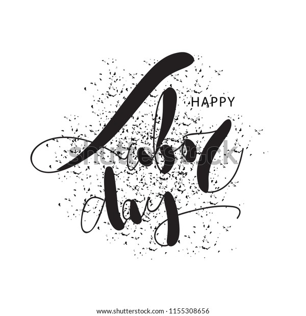 Happy Labor Day Black White Vector Stock Vector Royalty Free 1155308656