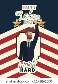 happy labor day card with businessman and usa flag