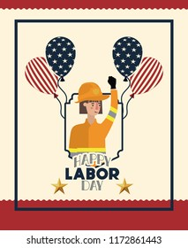 happy labor day card with firewoman and balloons