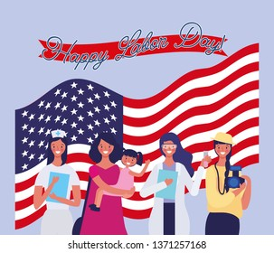 Happy labor day card with hand drawn cartoons vector digital image illustration