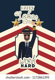 happy labor day card with pilot and usa flag