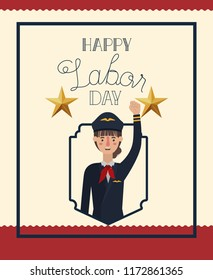 happy labor day card with woman pilot