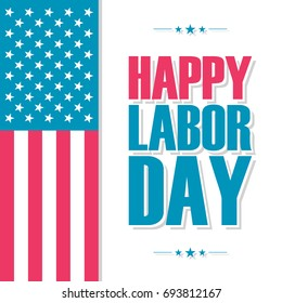 Happy Labor Day celebration card with United States national flag. Vector illustration.