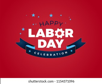 Happy Labor Day celebration text vector illustration - USA Labor Day lettering ribbon design, red background