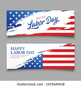 Happy Labor day flag of usa vector, brush style banners design collections background, illustration