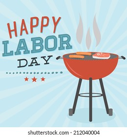 Happy Labor Day Grill Barbecue BBQ Cookout Vector | Hot Dogs, Steak Grilling