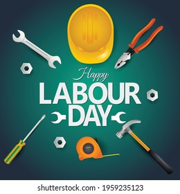 Happy Labor Day On 1 May. tools top view. vector illustration design.