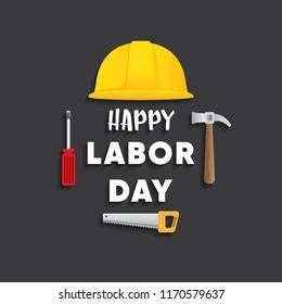 happy labor day on black background