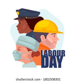 Happy Labor Day. People different occupation. Vector illustration in cartoon style. Isolated on a white background.