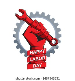 Happy labor day poster. A clenched fist with wrench on the background of gear wheel. Illustration, vector
