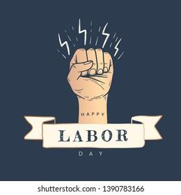 Happy Labor Day power fist vector