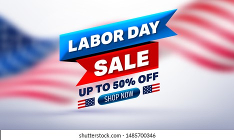 Happy Labor Day Sale 50% off poster.USA labor day celebration with American flag background.Sale promotion advertising Brochures,Poster or Banner for American Labor Day.Vector illustration EPS10