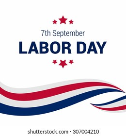 Happy Labor Day, September 7th, White and Red lines American flag design element. United state of America, American Labor day design. Beautiful USA flag Composition. Labor Day poster design