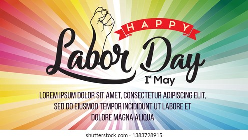 Happy Labor Day typography with hand unique full colours background for posters, flyers, business, company, retail store, social media - Vector