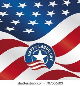 Happy Labor Day USA flag star ribbon background