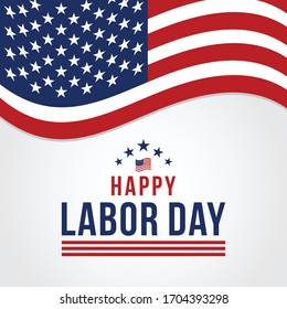 Happy Labor Day Vector greeting card or invitation card. Illustration of an American national holiday with a US flag.