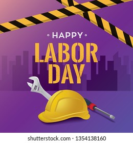 Happy Labor Day vector illustration banner template, 1st May federal holiday for workers